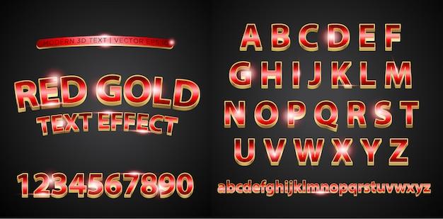 Texto de letras del alfabeto oro rojo 3d