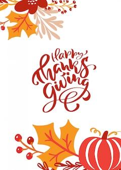 Texto de letras de caligrafía feliz día de acción de gracias
