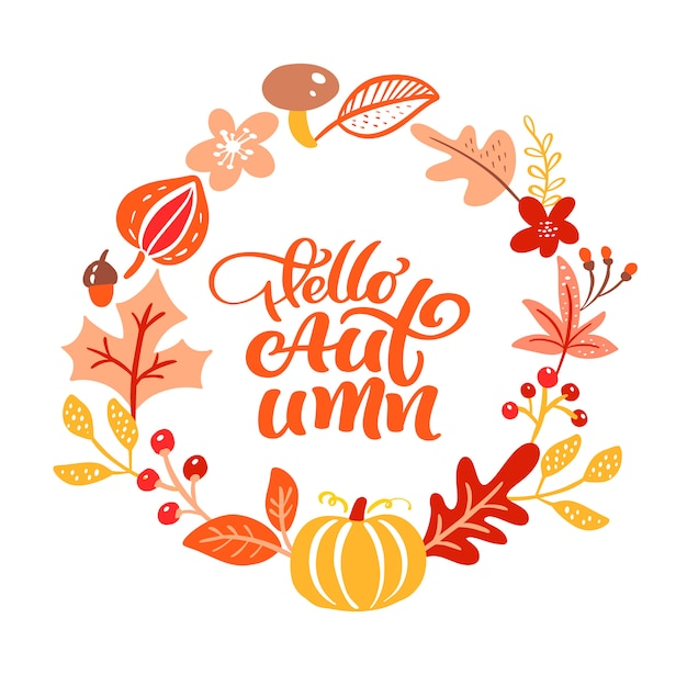 Texto de letras de caligrafía hola otoño.