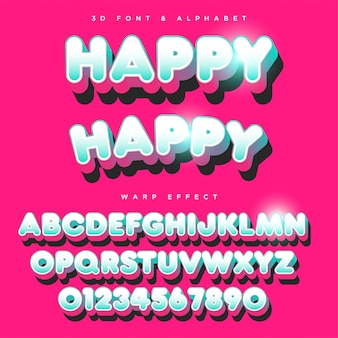 Texto de letras estilizadas redondeadas 3d