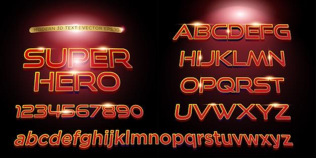 Texto de letras estilizadas de superhéroe 3d