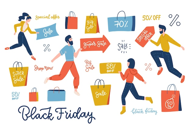 Texto de letras de venta de viernes negro con grupo de personas sosteniendo diferentes bolsas de papel de compras. flechas y carteles con citas publicitarias.