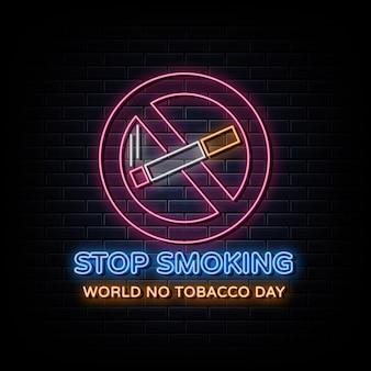 Texto de letrero de neón del día mundial sin tabaco