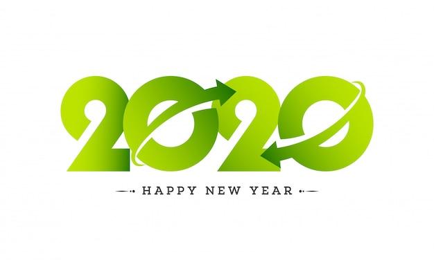 Texto del libro verde 2020 con flecha giratoria en blanco para feliz año nuevo