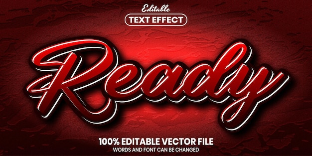 Texto listo, efecto de texto editable de estilo de fuente