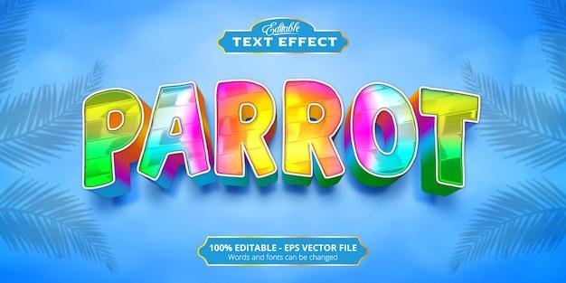 Texto de loro, efecto de texto de estilo colorido editable