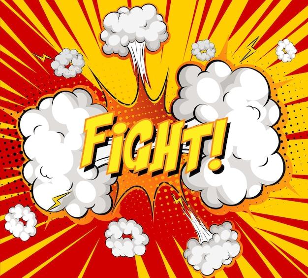 Texto de lucha sobre explosión de nube cómica sobre fondo de rayos