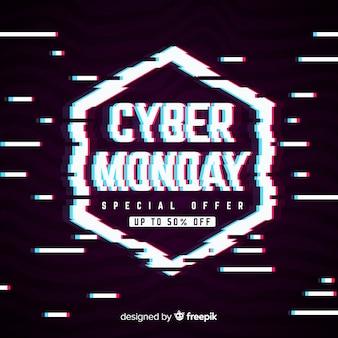 Texto del lunes cibernético en estilo glitch distorsionado