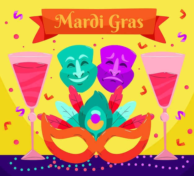 Texto de mardi gras dibujado a mano con elementos ilustrados