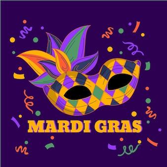 Texto de mardi gras dibujado a mano con máscara ilustrada