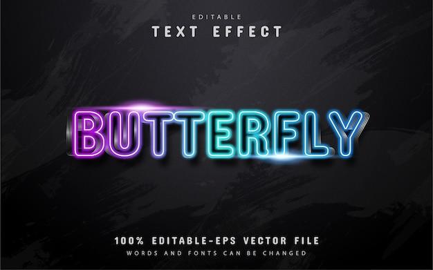 Texto de mariposa, efecto de texto de estilo neón colorido