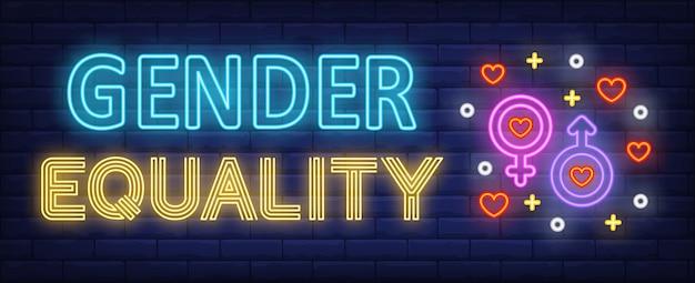Texto de neón de igualdad de género con símbolos de género masculino y femenino.