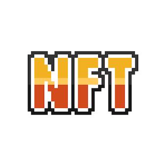 Texto nft dorado brillante de pixel art