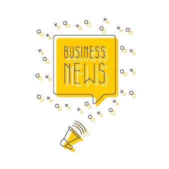 Texto 'noticias de negocios' en el bocadillo de diálogo y el altavoz de línea plana delgada ilustración vectorial. bandera moderna