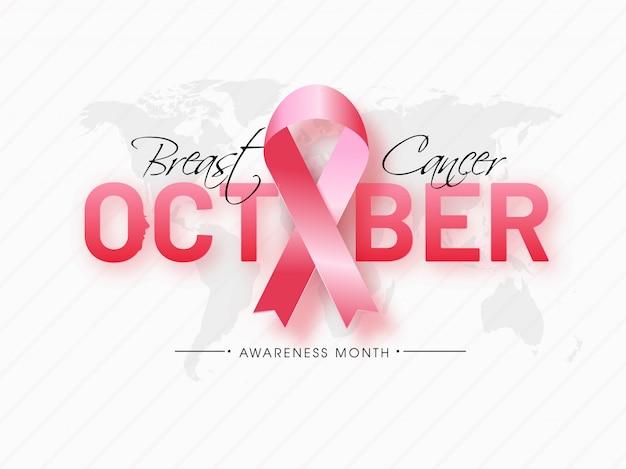 Texto de octubre con cinta rosa en el mapa mundial blanco a rayas para el mes de concientización sobre el cáncer de mama