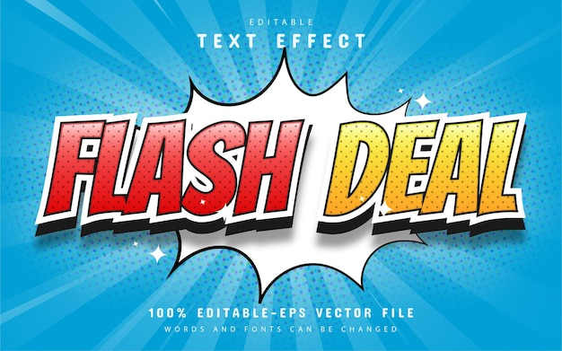 Texto de oferta flash, efecto de texto de estilo cómico