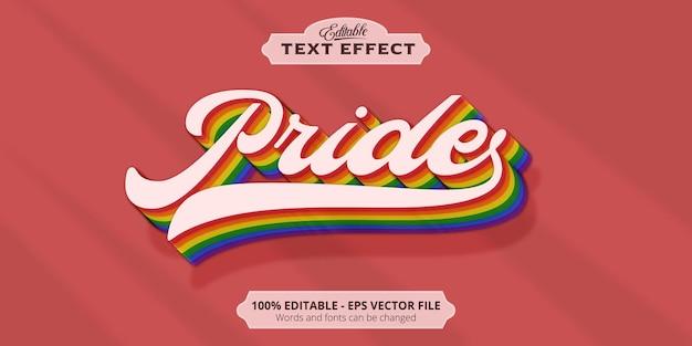 Texto de orgullo, efecto de texto editable de estilo colorido