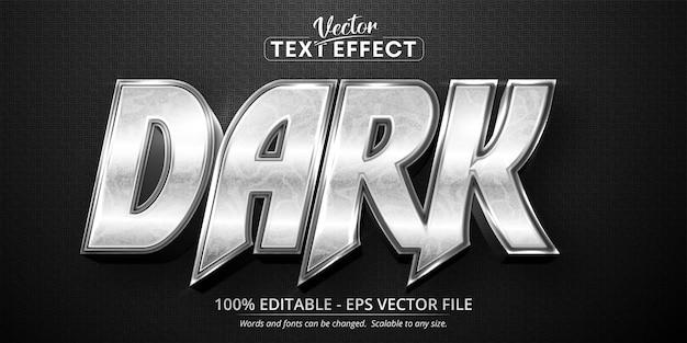 Texto oscuro, efecto de texto editable de estilo plateado brillante