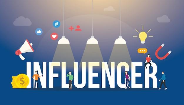 Texto de palabras grandes de influencia con personas del equipo e icono de redes sociales con estilo plano moderno.