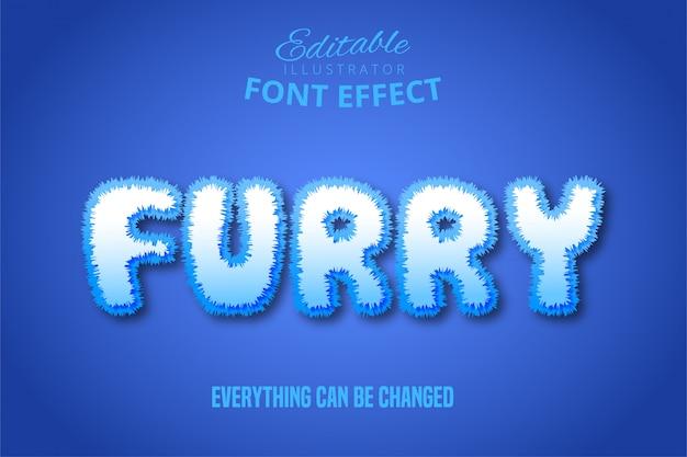 Texto peludo, efecto de fuente editable estilo peludo 3d
