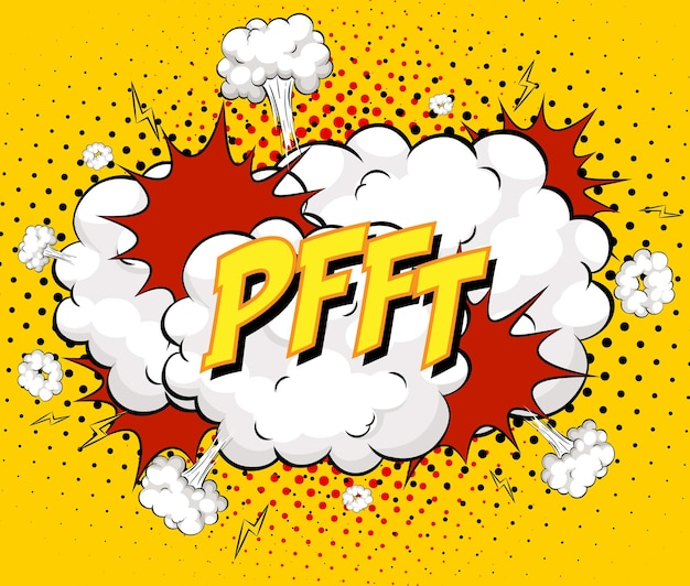 Texto pfft sobre explosión de nube cómica sobre fondo amarillo