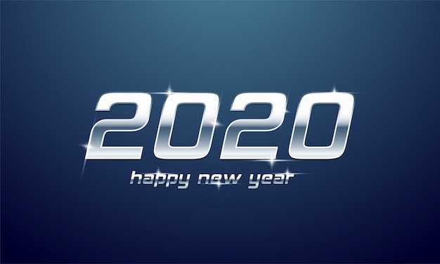 Texto plateado brillante de 2020 feliz año nuevo en azul