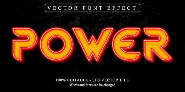 Texto de poder, efecto de texto editable estilo neón