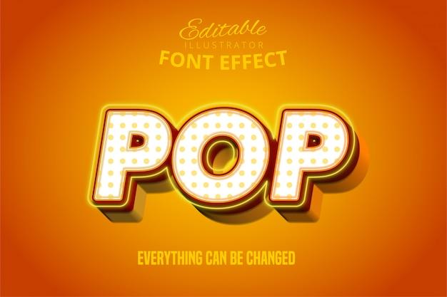 Texto pop, efecto de fuente editable naranja y amarillo 3d