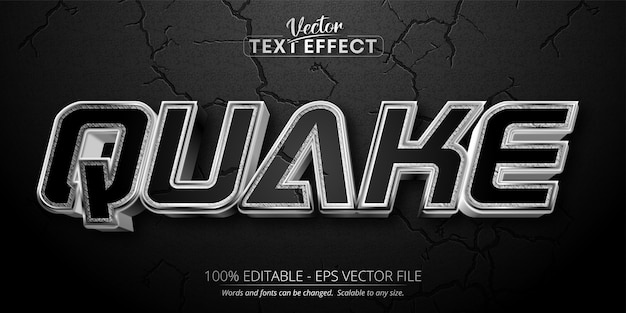 Texto de quake, efecto de texto editable de estilo plateado brillante sobre fondo texturizado de color negro