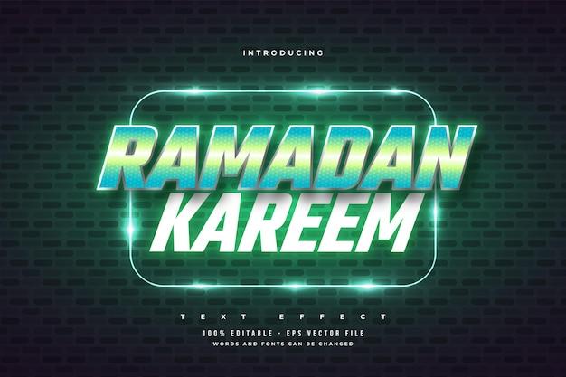 Texto de ramadán kareem en estilo retro verde y efecto de neón brillante