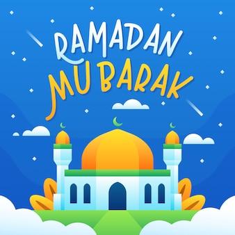 Texto de ramadán mubarak con mezquita sobre nube en la noche