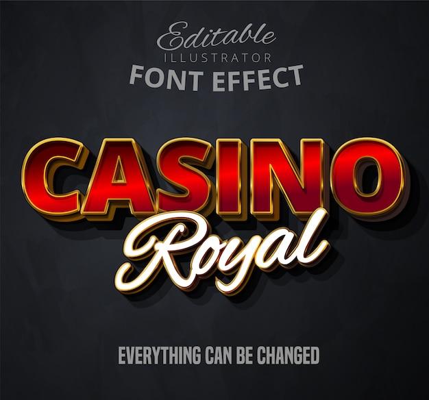 Texto real del casino, efecto de fuente editable