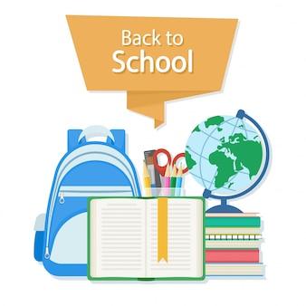Texto de regreso a la escuela. abra el libro con un marcador y útiles escolares como una mochila, libros de texto, cuaderno, globo, juego de papelería. concepto de educación de estilo plano. ilustración.