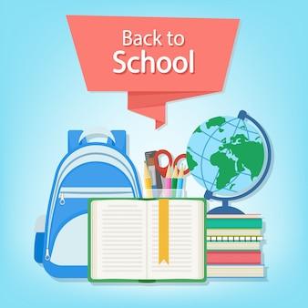 Texto de regreso a la escuela en la bandera roja. abra el libro con un marcador y útiles escolares como una mochila, libros de texto, cuaderno, globo, juego de papelería. concepto de educación de estilo plano. ilustración.