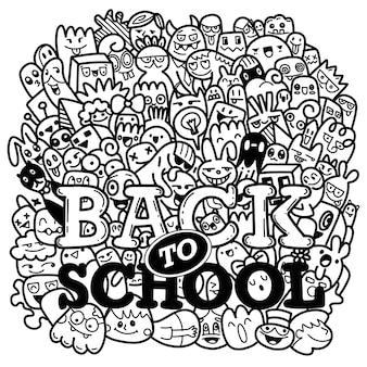 Texto de regreso a la escuela dibujado a mano en estilo pop art