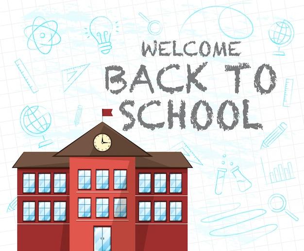 Texto de regreso a la escuela y un edificio rojo de la escuela