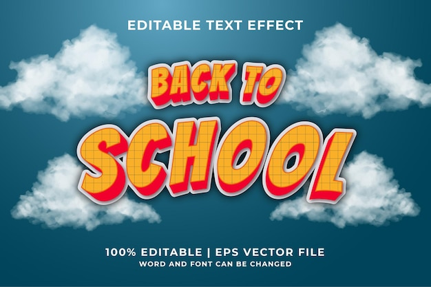 Texto de regreso a la escuela, efecto de texto editable de estilo de fuente vector premium