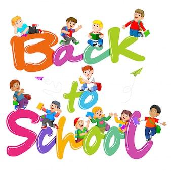 El texto de regreso a la escuela, gelatina con el estudiante alrededor.