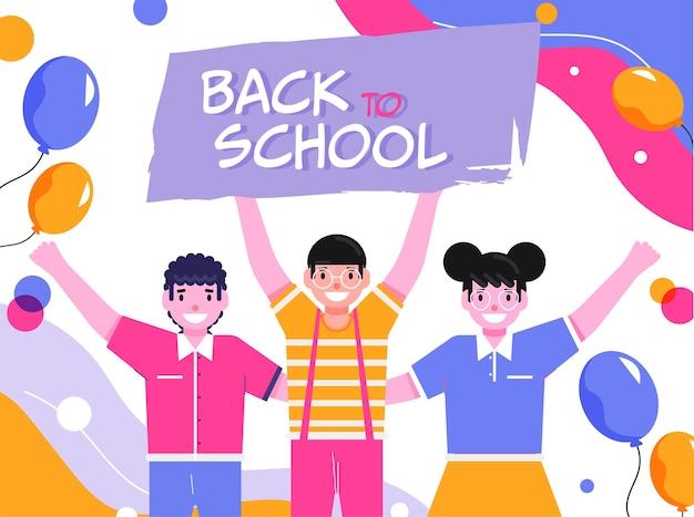 Texto de regreso a la escuela con niños estudiantes alegres y globos sobre fondo abstracto.