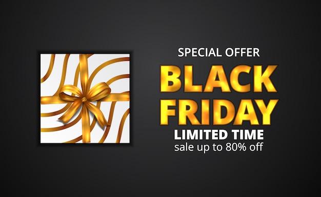 Texto de resplandor dorado de viernes negro con envoltura de caja de regalo de ilustración con cinta dorada