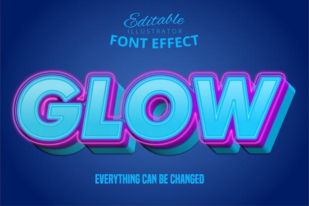 Texto resplandor, puple 3d y efecto de fuente editable azul