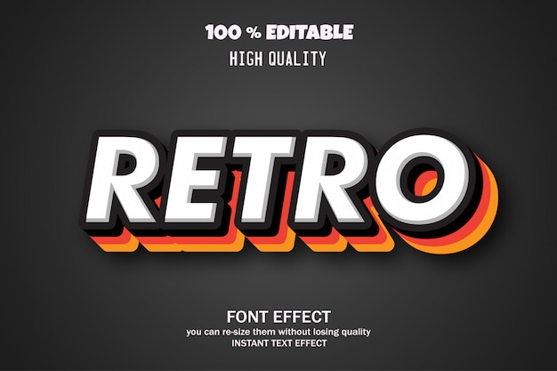 Texto retro, efecto de fuente editable