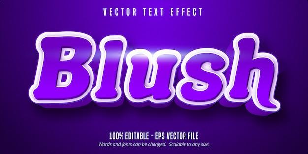 Texto de rubor, efecto de texto editable púrpura brillante