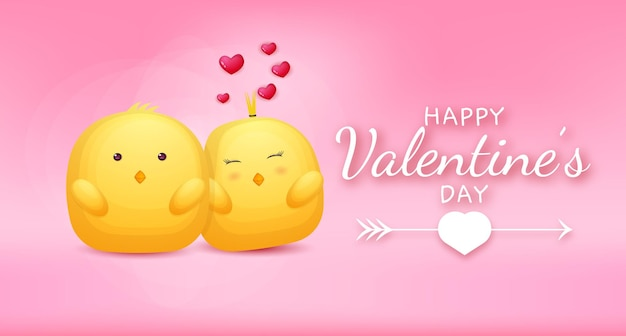 Texto de saludo de feliz día de san valentín con pareja de pollo