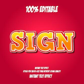 Texto de señal, efecto de fuente editable