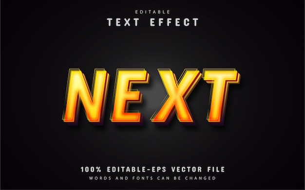 Texto siguiente, efecto de texto de estilo degradado naranja
