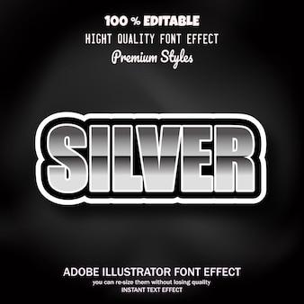 Texto siver, efecto de fuente editable