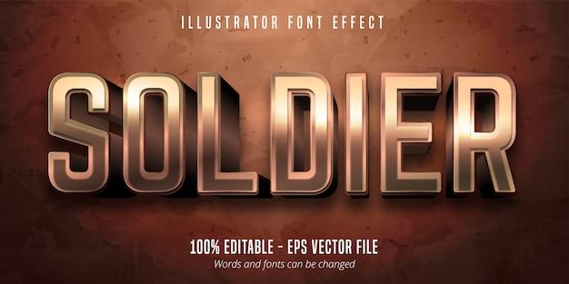 Texto de soldado, efecto de fuente editable de estilo metálico de bronce 3d