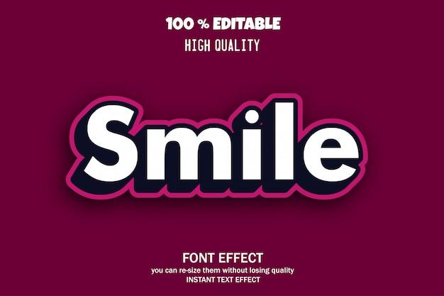 Texto de sonrisa, efecto de fuente editable