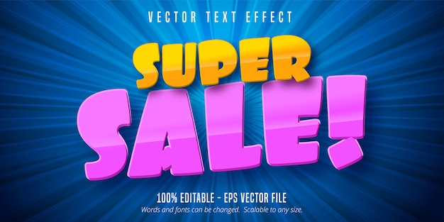 Texto de super venta, efecto de texto editable de estilo de dibujos animados